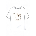 Letter Chinese Dog Printed Round Neck Short Sleeve Tee