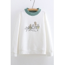 Contrast Round Neck FAMILY Letter Cactus Embroidered Long Sleeve Sweatshirt