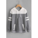 Leisure Color Block Contrast Striped Long Sleeve Hoodie with Pocket
