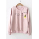 SWEETY CAT Letter Graphic Printed Round Neck Long Sleeve Sweatshirt