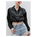Zipper Placket Lapel Collar Long Sleeve Drawstring Hem Crop Sun Proof Coat