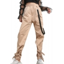 Strap Embellished High Waist Plain Buckle Cinch Tabs Cuffs Leisure Cargo Pants