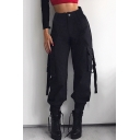 High Waist Plain Buckle Straps Embellished Cuffed Cargo Pants
