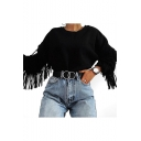 Round Neck Long Sleeve Tassel Embellished Plain Crop Sweatshirt