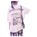 Letter Cartoon Graphic Printed Back Round Neck Short Sleeve Relaxed T-Shirt