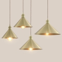 Simple Style Antique Brass Finish Ceiling Pendant Lamp with Conical Shade 4 Sizes for Option