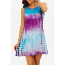 Tie Dye Round Neck Sleeveless Lace Insert Back Mini A-Line Dress