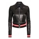 Lapel Collar Contrast Striped Rib Knit Trim Long Sleeve Zip Up Crop Leather Jacket