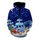 Snow Christmas Printed Long Sleeve Leisure Hoodie