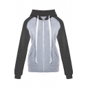 Zip Closure Color Block Long Sleeve Casual Hoodie