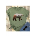 Forest Polar Bear Printed Round Neck Short Sleeve Tee