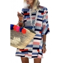 Color Block Geometric Printed Round Neck 3/4 Length Sleeve Mini A-Line Dress