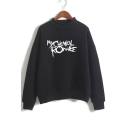 MY CHEMICAL ROMANCE Letter Printed Mock Neck Long Sleeve Sweatshirt