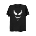 Smoke Smile Face Printed Round Neck Short Sleeve T-Shirt
