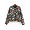 Stand Up Collar Floral Printed Long Sleeve Zip Up Padded Jacket