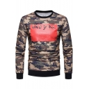 Camouflage Letter Printed Round Neck Long Sleeve Slim Sweatshirt