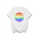 NASA Letter Rainbow Printed Round Neck Short Sleeve T-Shirt