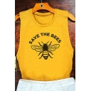SAVE THE BEES Letter Animal Printed Round Neck Sleeveless Tank
