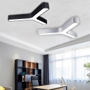 Low Glare 31-40W Cool White Light Metal Led 3 Forks Angle Surface-mount Light Modern Ceiling Lighting in Black/Silver Y Shaped LED Flushmount Lighting for Office Meeting Room Hallway Gallery