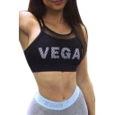 VEGAN Letter Printed Mesh Patched Spaghetti Straps Sleeveless Sports Crop Cami