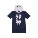 Cat Pattern Hood Chinese Printed Short Sleeve Leisure Hooded Tee