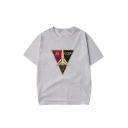 CCCP Letter Rocket Printed Round Neck Short Sleeve T-Shirt