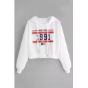 American Flag Letter Number Printed Long Sleeve Crop Hoodie