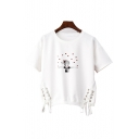 Character Heart Printed Round Neck Short Sleeve Lace Up Side Crop Tee