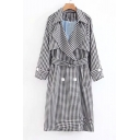 Plaid Printed Notched Lapel Collar Long Sleeve Double Breasted Tunic Coat