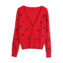 Cat Embroidered V Neck Long Sleeve Button Front Leisure Cardigan