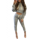 Chic Long Sleeve Plain Crop Hoodie with Drawstring Waist Skinny Pants Co-ords