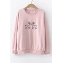 Deer Embroidered Round Neck Long Sleeve Pullover Sweatshirt