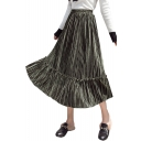 Elastic Waist Pleated Ruffle Detail Plain Velvet Maxi A-Line Skirt