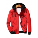 Letter Embroidered Contrast Hood Long Sleeve Zip Up Hooded Jacket
