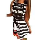 Letter Cartoon Printed Round Neck Sleeveless Striped Mini A-Line Dress