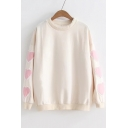 Heart Pattern Applique Round Neck Long Sleeve Sweatshirt