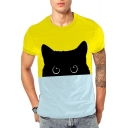 Lovely Color Block Cat Printed Short Sleeve Round Neck T-Shirt