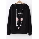 MAY Letter Rabbit Printed Long Sleeve Casual Hoodie