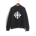 Letter Cross Printed Mock Neck Long Sleeve Sweatshirt