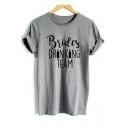Letter Bottle Printed Short Sleeve Round Neck T-Shirt