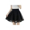 Mesh Insert Elastic Waist Mini A-Line Skirt