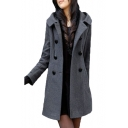 Double Breasted Long Sleeve Plain Tunic Hooded Coat