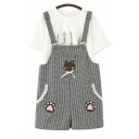 Bear Embroidered Plaid Printed Straps Sleeveless Overall Romper