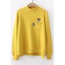 Fox Embroidered Pocket Round Neck Long Sleeve Dip Hem Sweater