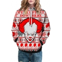 Letter Clown Printed Long Sleeve Casual Hoodie
