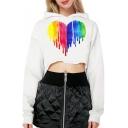 Colorful Heart Printed Long Sleeve Crop Hoodie