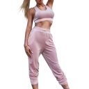 Plain Round Neck Sleeveless Cropped Tank with Drawstring Waist Leisure Pants Co-ords