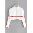 Half-Zip Stand Collar Contrast Striped Long Sleeve Cropped Sweatshirt
