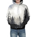 3D Forest Printed Long Sleeve Casual Hoodie