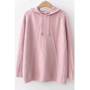 Chic Long Sleeve Knitting Twist Plain Leisure Hooded Sweater